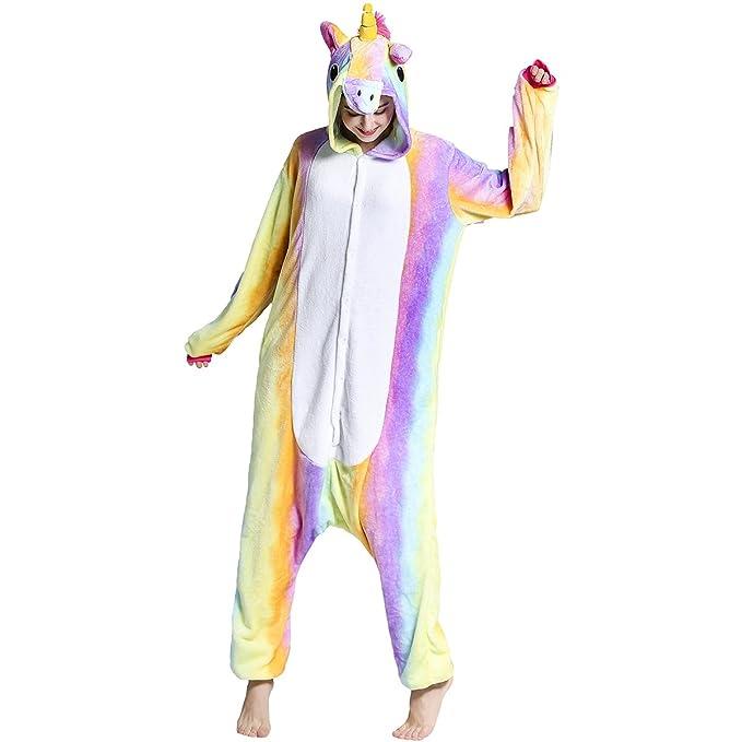 Adulto Unisex Franela Unicornio Animal Onesies Pijamas OnePiece Cosplay (arcoiris, M)