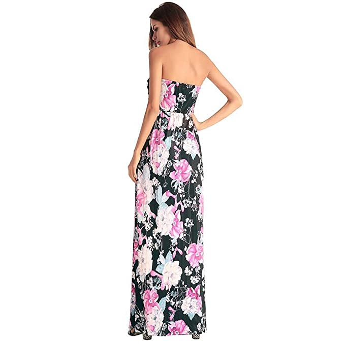 Dress Femmes Maxi Swing Onfly Sexy Backless Top Sans Bretelles Tube 0XP8Okwn