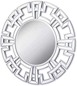 Chende Large Decorative Mirror, 32'' Round Mirror Wall Decor with Beveled Glass Frame, Modern Accent Mirror for Living Room, Foyer, Bedroom