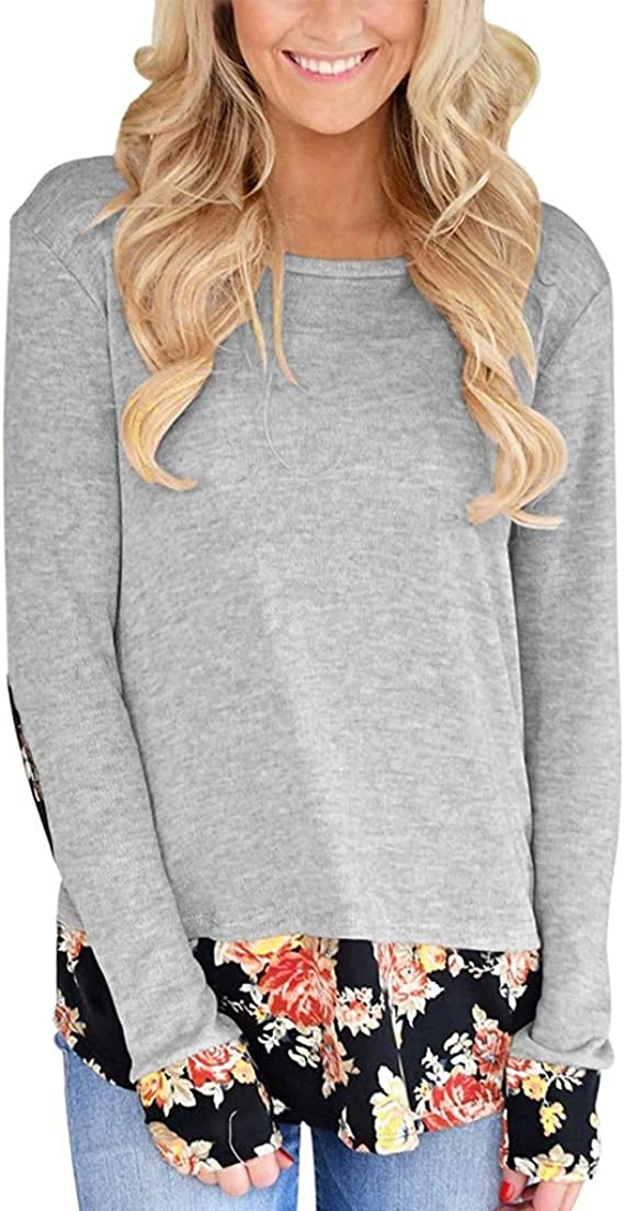 Cebbay Femme Stylé Pull Casual Col Rond Couleur Unie Couture