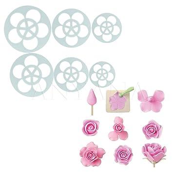 Anyana 6pcs Decoración pétalos rosa flores pastel moldes fondant decoración: Amazon.es: Hogar