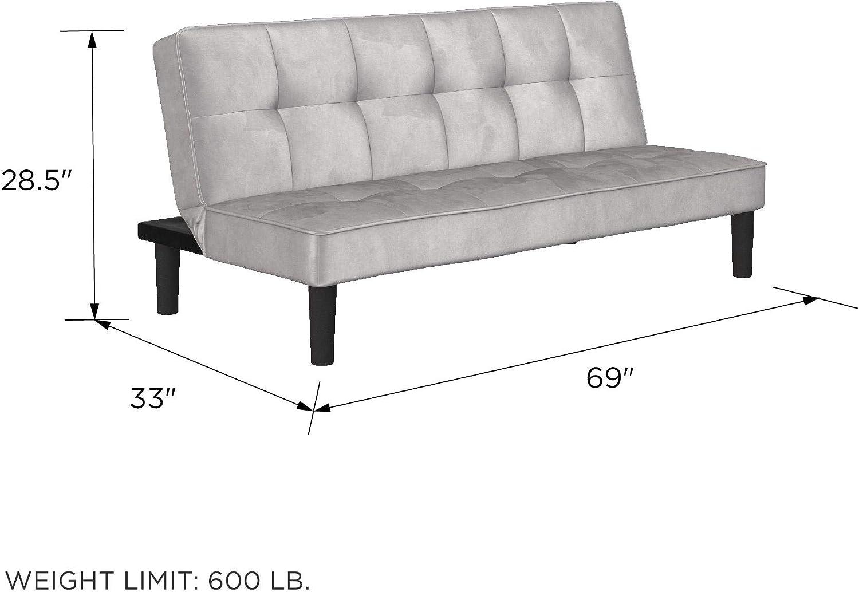REALROOMS Tyler Futon Convertible Sofa Bed /& Couch Black Velvet