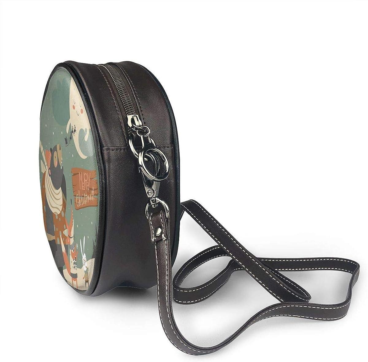 Christmas Bear Fox Moon Round Leather Shoulder Bag Fashion Lady Crossbody Wallet Adjustable Top Handbag For Women Girl