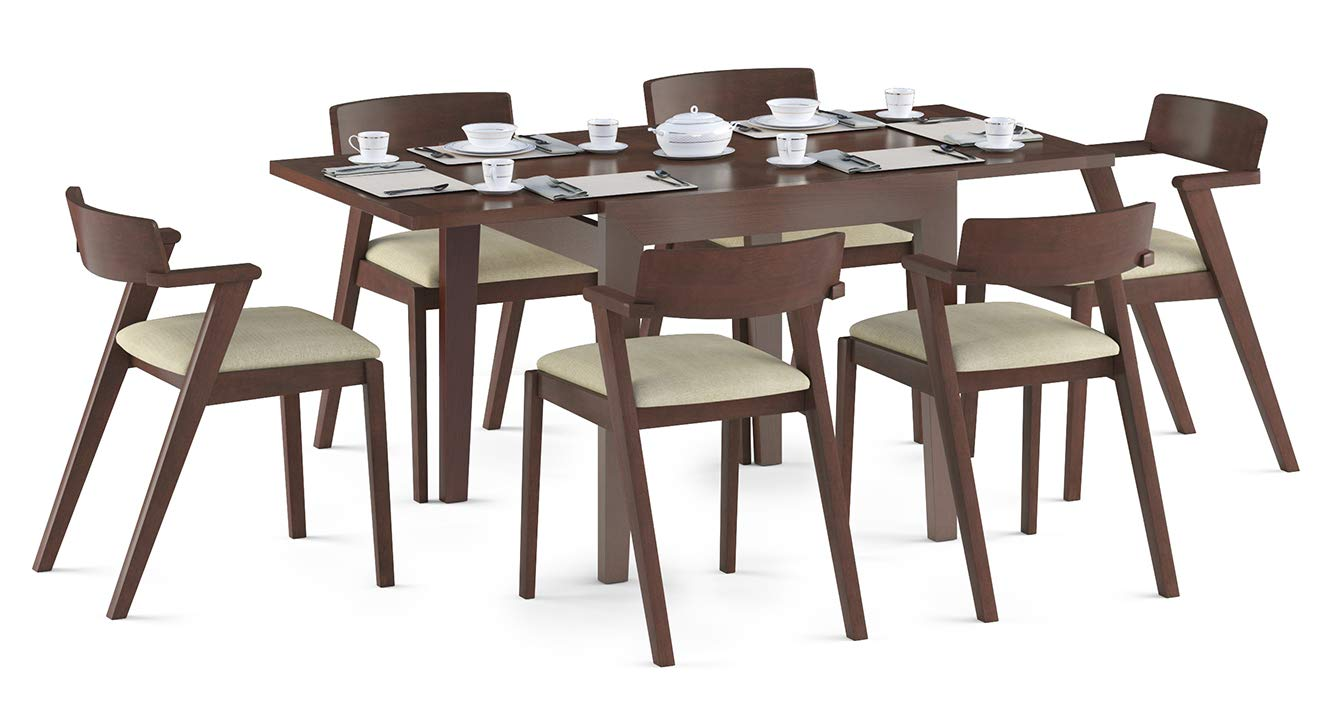 Urban Ladder Murphy 4 To 6 Extendable Thomson 6 Seater Dining Table Set Finish Dark Walnut Colour Beige Amazon In Home Kitchen