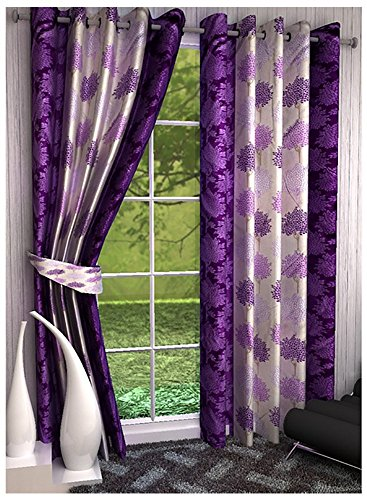 Super India Floral 1 Piece Eyelet Polyester Long Door Curtain – 9ft , Purple