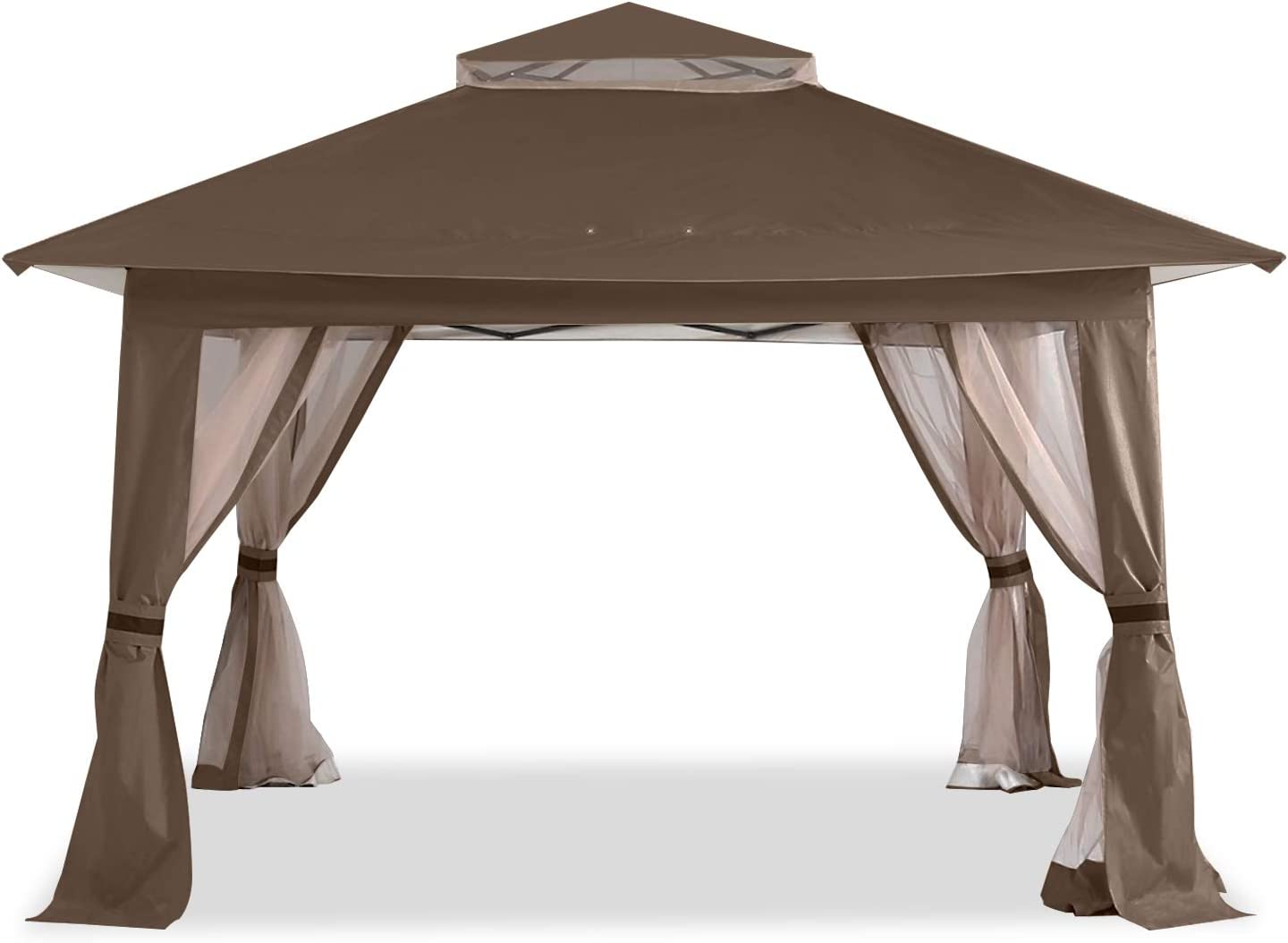 ABCCANOPY 13'x13' Gazebo Tent Outdoor Pop up Gazebo Canopy Shelter with Mosquito Netting (Brown)