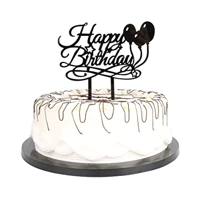 Image Unavailable Not Available For Color YUINYO Black Balloon Happy Birthday Cake Topper Adult