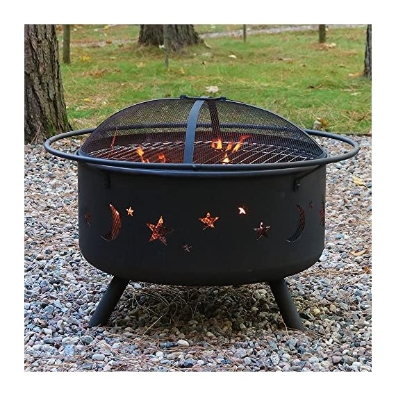 Sunnydaze Cosmic Outdoor Fire Pit - 30 Inch Round Bonfire Wood Burning Patio & Backyard Firepit for Outside with Cooking BBQ Grill Grate, Spark Screen, and Fireplace Poker, Celestial Design - PERFECT SIZE: Large enough to grill steaks, burgers, and other food, but is still small enough to fit on the patio, yard, deck, porch, lawn, or garden; Overall 29.5 inch diameter x 10 inch deep x 20 inch high, weighs 21 pounds; Fire bowl measures 24 inch diameter x 10 inch high, legs are 5 inch tall HEAVY DUTY AND RUST RESISTANT: Deep metal firepit is made from durable thick steel and finished with a rustic high temperature paint for long lasting quality and added resistance to rust; Portable function allows the outdoor fireplace to be moved anywhere and has a decorative star and moon cutouts that complement any outside decor style FULL FIRE PIT GRILL SET: Firebowl kit includes sturdy round spark screen for added safety from flying sparks, poker stick tool to easily control the flame, built-in wood burning grate for better air flow, and a BBQ pit cooking grate so you can cook delicious food in the backyard or while camping - patio, outdoor-decor, fire-pits-outdoor-fireplaces - 61y8UPYDqJL. SS570  -