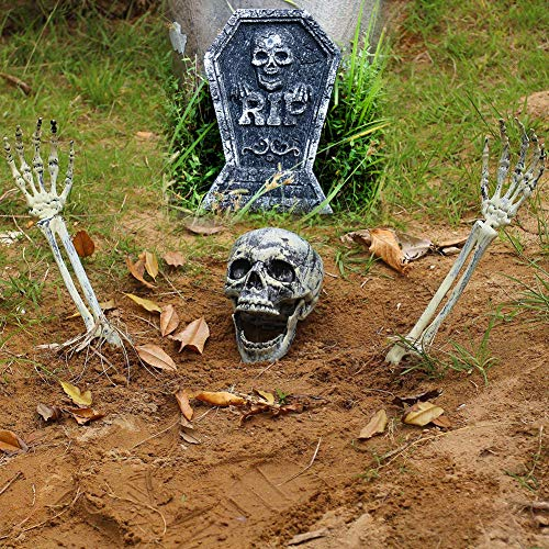 HIbuy Realistic Looking Skeleton Stakes, Halloween Skull and Skeleton Decoration for Yard Lawn Stakes Garden Decorations RIP Graveyard Foam Tombstone Halloween Décor]()