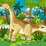 LFEEY 6x6ft Cartoon Giant Dinosaur Backdrop Safari Zoo Ancient Prehistoric Jurassic World Photography Background for Kids Birthday Party Events Decoration Photo Studio Props