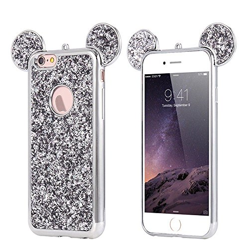 Crystal Mickey Mouse Rhinestone - iPhone 7 Case, Luxury 3D Mickey Ears Crystal Rhinestone Sparkle Glitter Diamond Protective TPU Case Cover For iPhone 7 (Glitter Ears Silver)