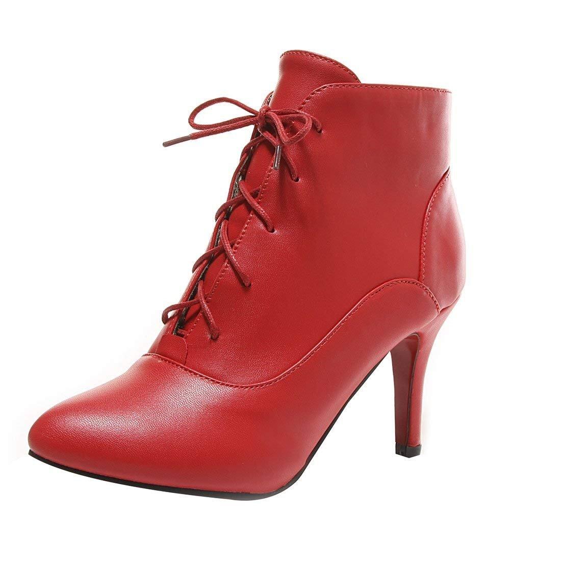 YE Femme Ankle Boots Bottine Botte Courte Hiver Femme Bout Pointu 19031 Lacet Talon Haut Aiguille Chaussure Hiver Rouge dace694 - deadsea.space