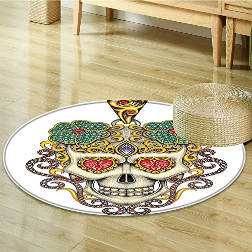 (Non Slip Round Rugs Sugar Skull with Heart Pendants and Jewelry Print Oriental Floor and Carpets-Round 51
