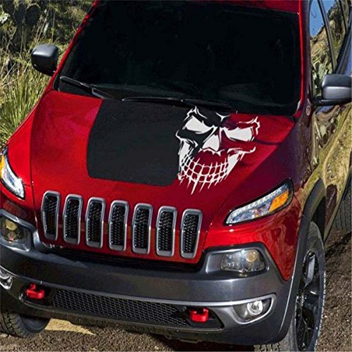 Fochutech Car Window Body Sticker Skull Skeleton Rear Windshield Wiper Self-Adhesive Side Truck Auto Vinyl Graphics Decals Reflective (White)