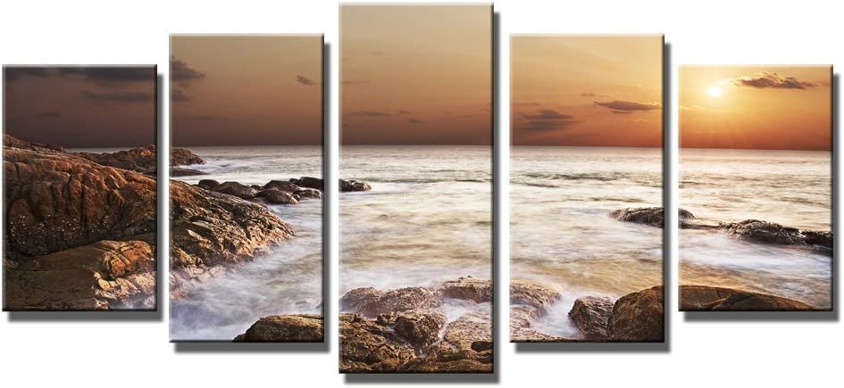 Wieco Art The Rocky Sea 5 Panels Seascape Canvas Prints Wall Art Sea Beach Pictures Paintings For Living Room Bedroom Kitchen Home Office Decorations Modern Gallery Wrapped Ocean Landscape Artwork Posters Prints Amazon Com