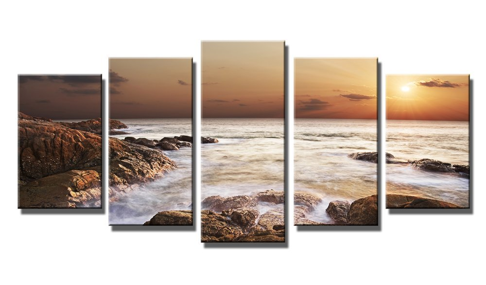 Amazon.com: Wieco Art   The Rocky Sea 5 Panels Seascape Canvas Prints Wall  Art Sea Beach Pictures Paintings For Living Room Bedroom Kitchen Home Office  ...