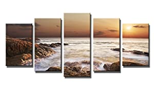 Wieco Art The Rocky Sea 5 Panels Seascape Canvas Prints Wall Art Sea Beach Pictures Paintings for Living Room Bedroom Kitchen Home Office Decorations Modern Gallery Wrapped Ocean Landscape Artwork