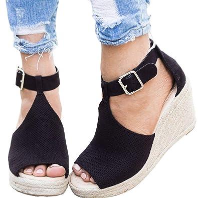 b8a580c1f Amazon.com | Poucw Womens Chic Espadrille Wedges Sandals Adjustable Buckle  High Platform Open Toe Ankle Strap Summer Shoes | Sandals