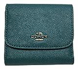 Coach Crossgrain Leather Glitter Small Wallet, Silver & Dark Teal