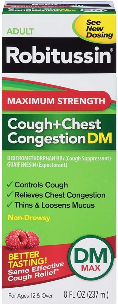 Robitussin DM Adult Maximum Strength Non-Drowsy Cough & Chest Congestion Relief (8 fl. oz. Bottle)