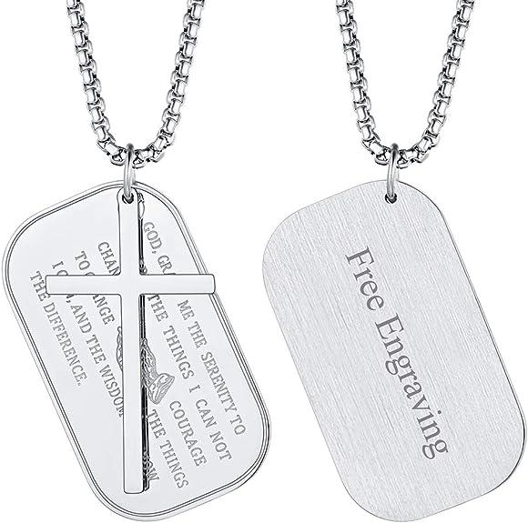 Image of FaithHeart Medalla Sagrada Colgante con Mano de Oración e Inscripción Biblia Joyería Milagrosa de Acero Inoxidable para Hombre y Mujer