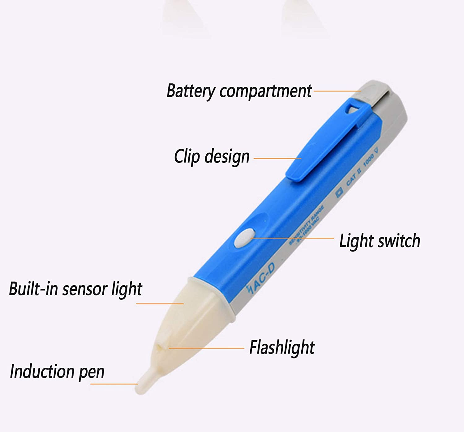 Pocket Size Volt Pen Non-Contact Voltage Detector 90v-1000v AC Testers Altert Pen with LED Torch and Alarm Mode DXIA 2 Pcs Voltage Tester Pen Non Contact Power Cable Testing Voltstick