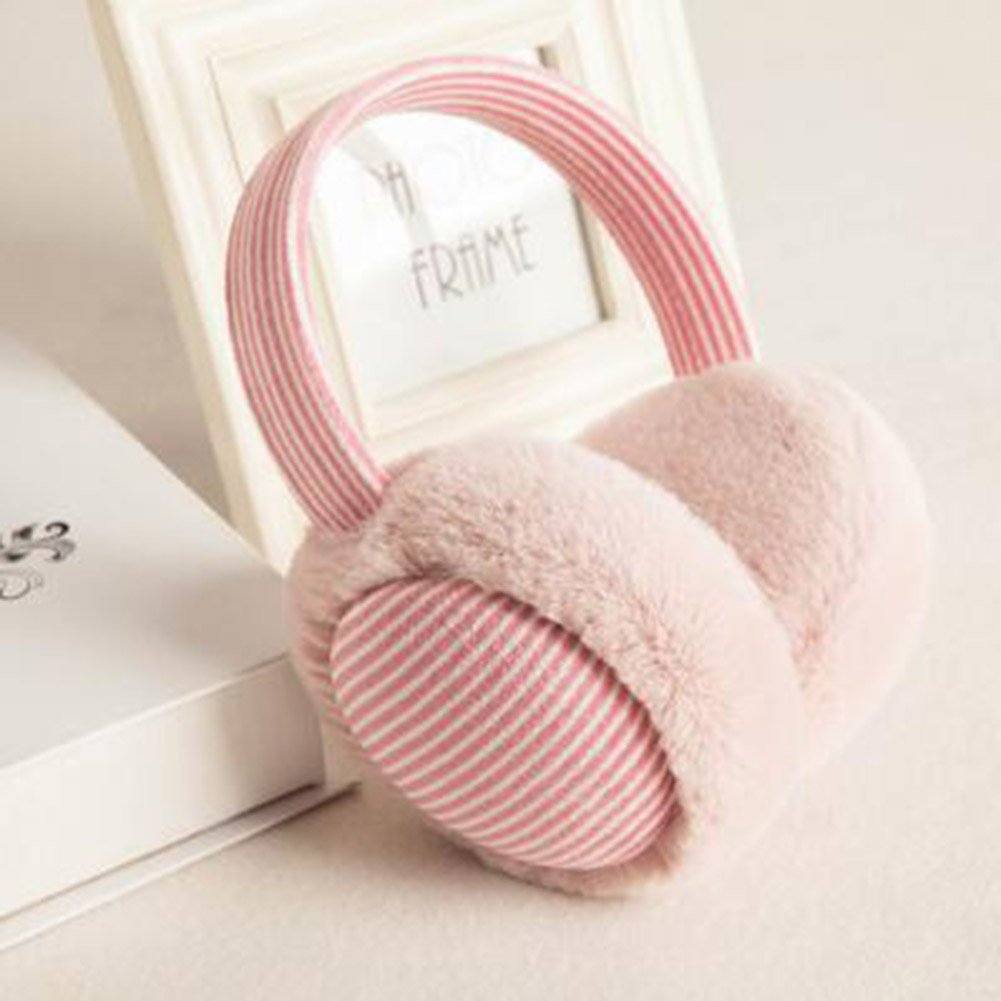 XUERUI Las orejeras de algodón de la planta mantienen el uso cálido de invierno Las muchachas de los 6 colores están plegables ( Color : Light pink )