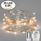 String Fairy Lights 20 LED 6.5ft, Silver Wire, Warm White, With 8 Function Remote, Battery Operated, Waterproof, Decorative for Home, Bedroom, Patio, Dorm, Parties, Festivals, and Garden
