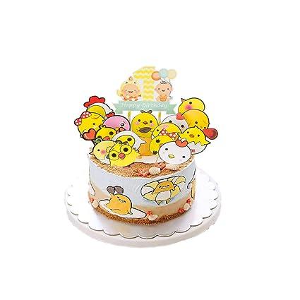 Admirable Elsani 16Pcs Chicken Theme Cake Topper Baby Shower Happy Birthday Funny Birthday Cards Online Bapapcheapnameinfo