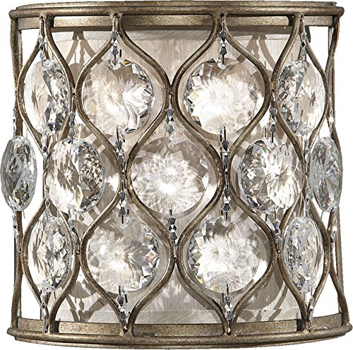 Feiss WB1497BUS Lucia Crystal Wall Sconce Lighting, Satin Nickel, 1-Light (8