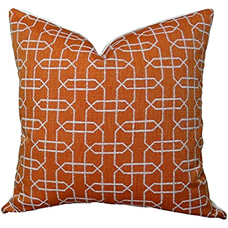Plutus Brands Plutus Ardmore Persimmon Handmade Throw Pillow 24 X 24 Orange White