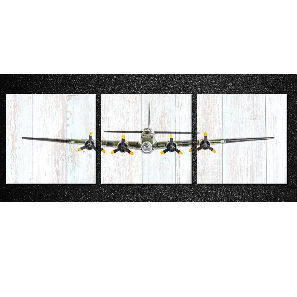 Kreative Arts Vintage Airplane B-17 Flying Fortress Bomber Plane Pictures Canvas Prints, Multicolor, 3 Piece