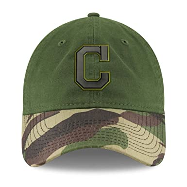 8bd8018d7 100% Authentic Cleveland Indians C Logo New Era Memorial Day 9TWENTY  Adjustable Hat - Green Camo at Amazon Men s Clothing store
