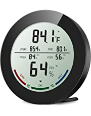 ORIA Indoor Hygrometer Thermometer, Digital Humidity Monitor, Temperature Humidity Gauge Meter, with 2.5 Inches LCD Display, ℃ ℉ Switch, MIN MAX Records, for Home, Office, Greenhouse (Black)