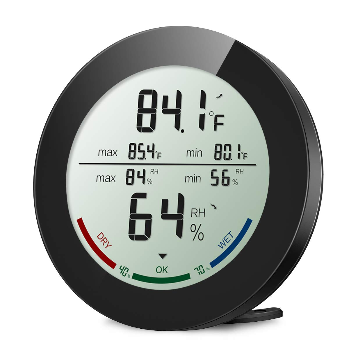 ORIA Indoor Hygrometer Thermometer, Digital Humidity Monitor, Temperature Humidity Gauge Meter, with 2.5 Inches LCD Display, Min and Max Records, for Home, Office, Greenhouse, Babyroom, Black by ORIA