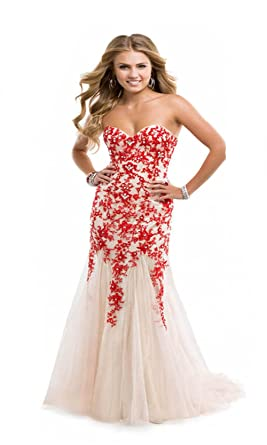Amazon.com: Miranda Red Evening Prom Dress Strapless Long Lace ...