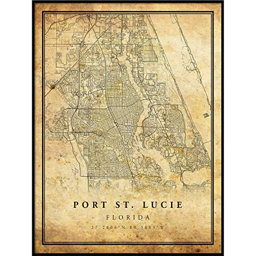 Port St. Lucie map Vintage Style Poster Print | Old City Artwork Prints | Antique Style Home Decor | Florida Wall Art Gift | Antique map Decor 11x14