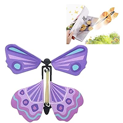 Creative Magic Props Flying Butterflies, Fun and Easy to Use for People of All Ages, Make a Lovely Bookmark While Flying (Purple) : Office Products