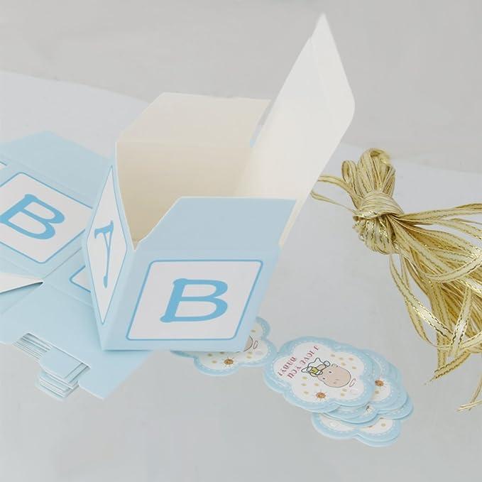 12x Cajas Cajita de Papel Dulces Caramelo Chocolate Regalo Ninos Bebé Halloween Navidad Cumpleanos Bodas Fiestas Azul