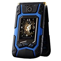 yodaliy Durable X9 Dual Screen Flip Mobile Phone Dual Card Long Standby 4.0-inch Touch Screen Rugged Mobile Phone (Blue)
