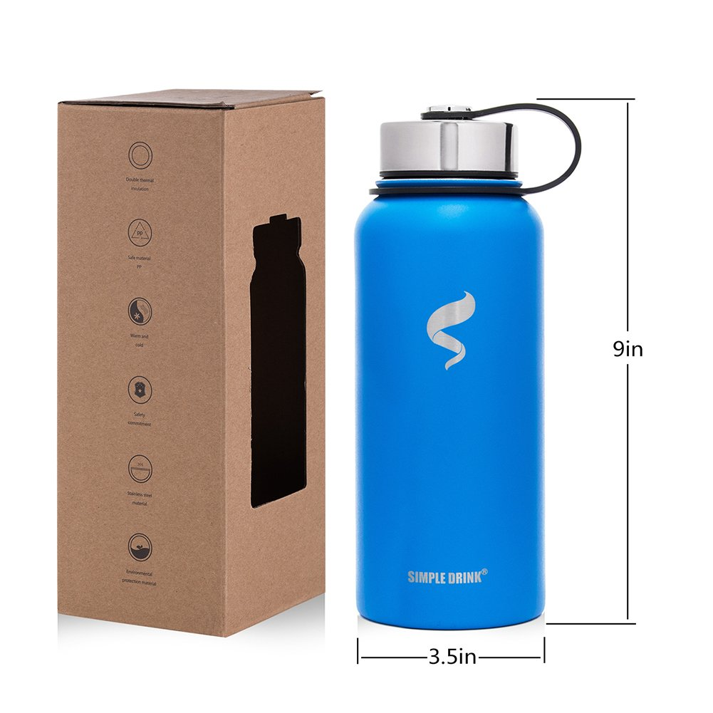 Stainless Steel Insulated Water Bottle - Wide Mouth Leak Proof Vacuum Outdoors Coffee Mug - Ice Cold Up to 24 Hrs / Hot 13 Hrs Double Walled Flask - Laser Marking