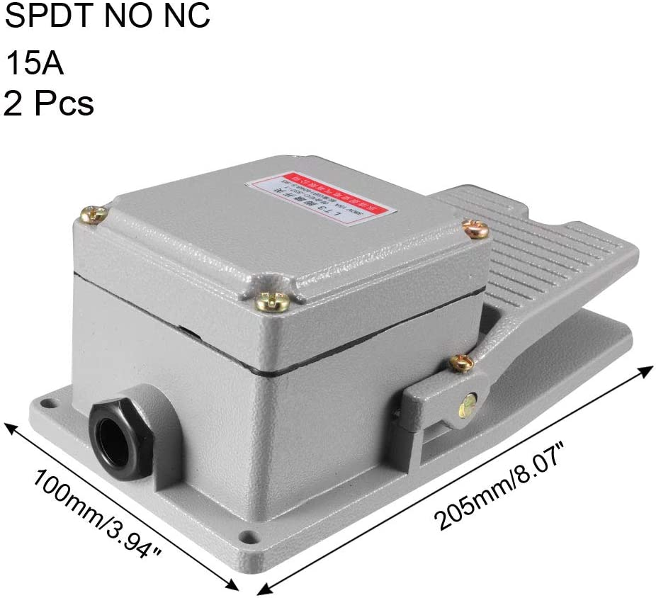 uxcell Industrial Electric Foot Pedal Switch Footswitch Momentary SPDT NO NC 380V//220V 15A Aluminum Case Grey 2PCS
