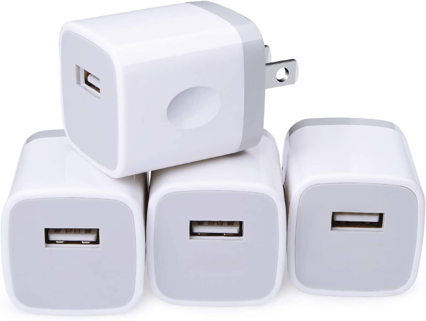 Charging Cube for iPhone, Charger Block, Power Bricks, NonoUV 4-Pack Single Port USB Plug in Wall Charger Adapter Charger Box for iPhone SE 11 Pro Max XR XS X 8 7 6 6s Plus, Samsung, Android, Kindle