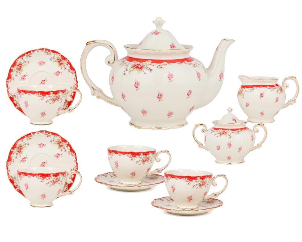 Gracie China by Coastline Imports Vintage Blue Rose Porcelain 11-Piece Tea Set, Blue