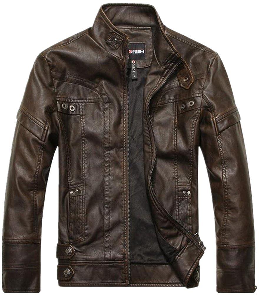 Jackdaine Men's Fashion Short Leather Jacket Fur PU Casual Jacket