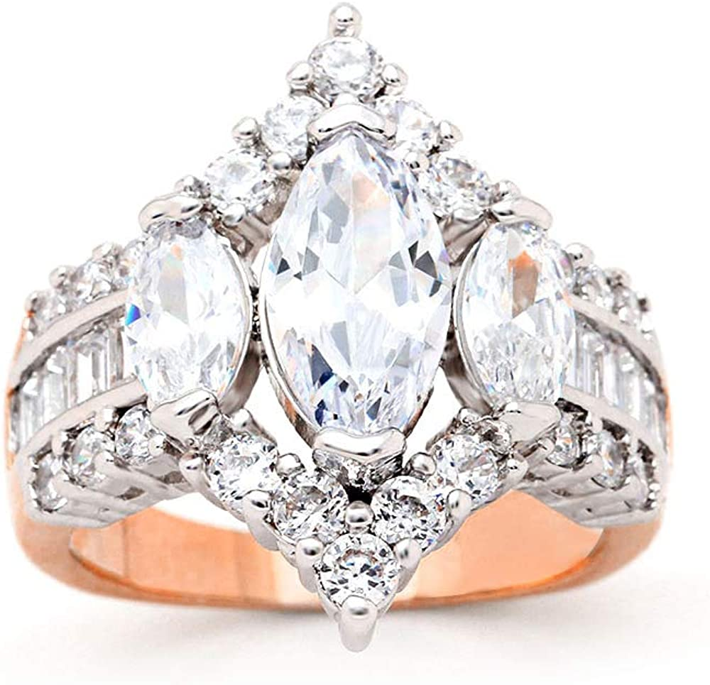 UFOORO Engagement Rings Inspired by Royal Wedding: 3 Stone Cubic Zirconia Crown & Simulated Gemstone Promise Ring: 18K Yellow Gold, 18K Rose Gold & Rhodium Plating, Size 5-10