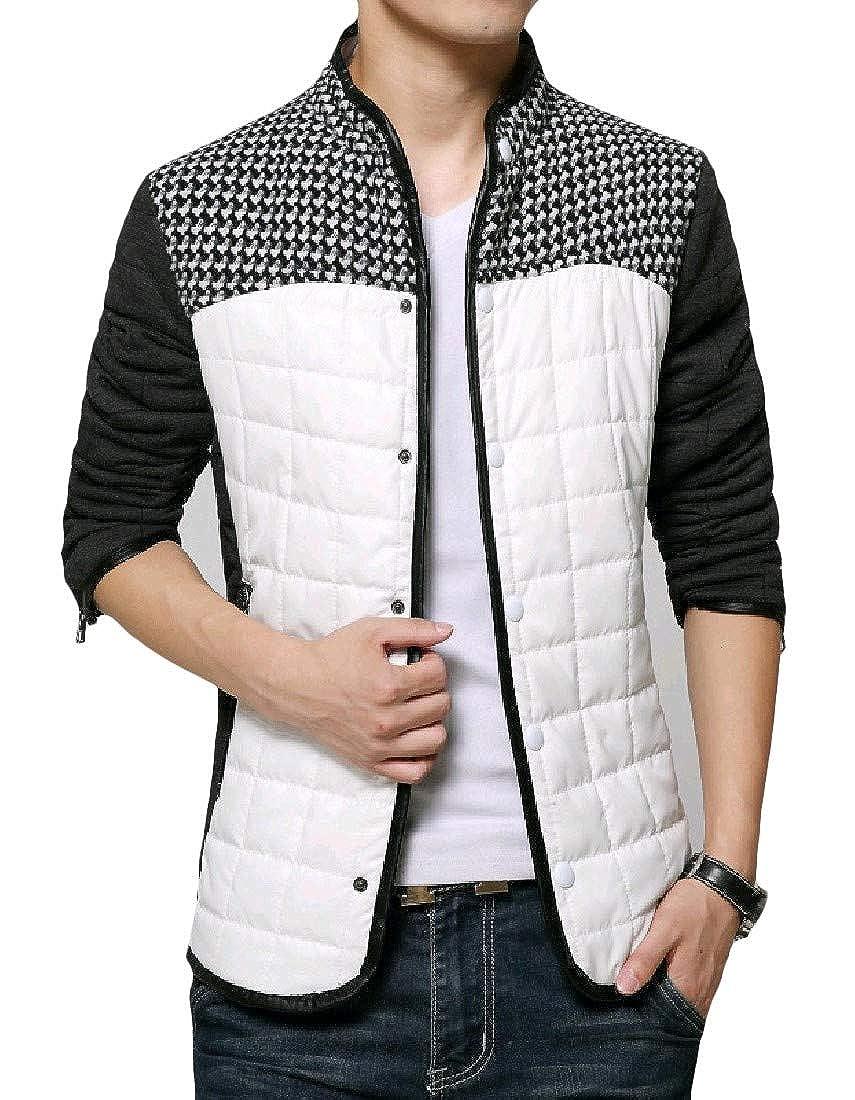 Abetteric Mens Premium Plaid Silm Business Parka Jacket Coat Outwear