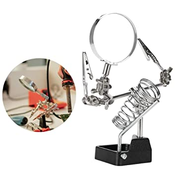 Jewelry Magnifier 5X Magnifying Glass Jewelry Accessory Magnifier with 2 Clamps Helping Magnifying Glass Soldering 360/°Rotation Repair Tool