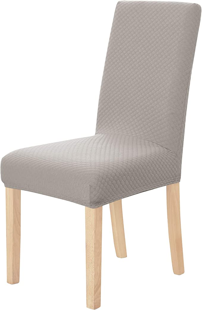 Deconovo Strechy Jacquard Dots Chair Covers Spandex Chair Slipcover Solid Dining Chair Protector Cover Set of 6,Khaki
