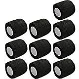 E Support™ 2 Inches X 5 Yards Self Adherent Cohesive Wrap Bandages Strong Elastic First Aid Tape for Wrist Ankle Black Pack of 10